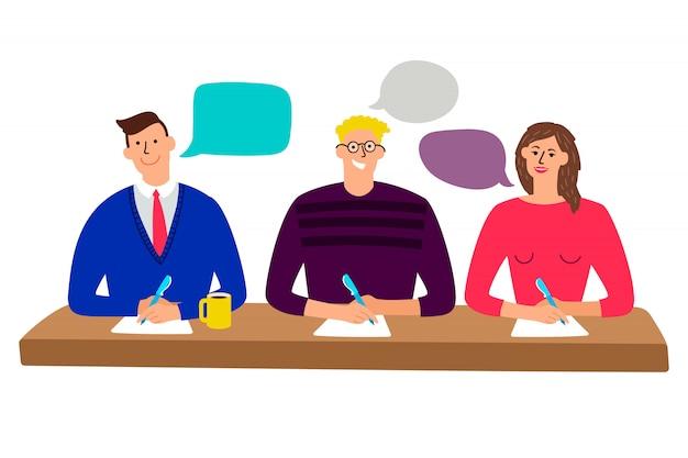 Commissione giudicante tavola dei giudici con gli uomini e l'illustrazione segnanti della gente della donna del quiz