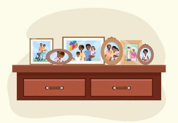 Comò con decorazione di ricordi di foto di famiglia
