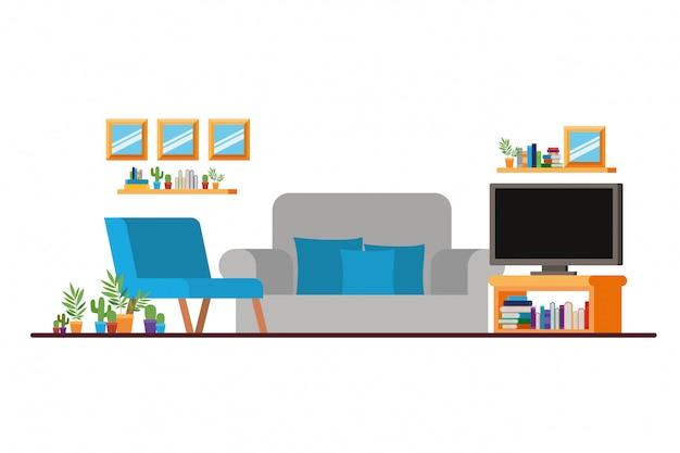 Comodo divano nel soggiorno con tv al plasma