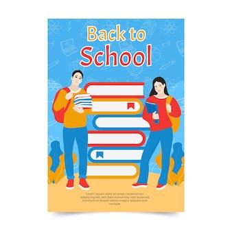 Compagni di classe e pila di libri di nuovo al modello di carta di scuola