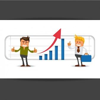 Compagni di lavoro con un grafico dietro