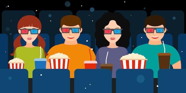 Compagnia di due coppie al cinema con gli occhiali 3d
