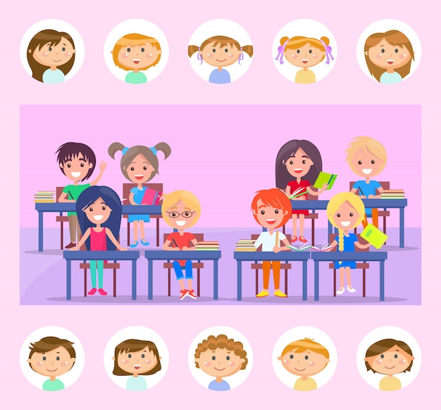 Compagno di classe e aula, alunni con il vettore di libri