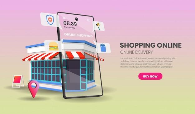 Compera online sul sito web o sull'applicazione mobile con vendita al dettaglio di concetto del negozio, illustrazione.