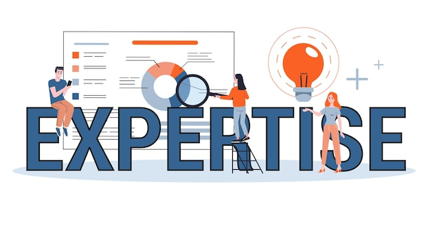Competenza nel concetto di banner web. idea di esperienza aziendale