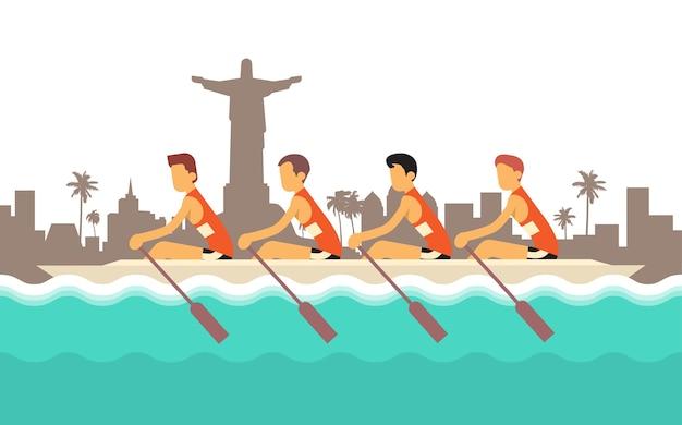 Competizione sportiva a squadre di canottaggio