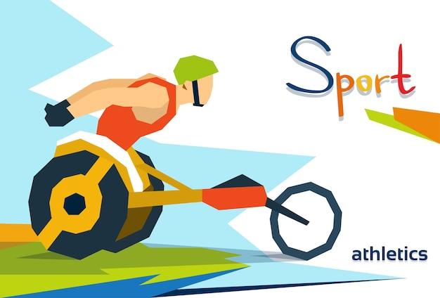 Competizione sportiva della sedia a rotelle dell'atleta della corsa disabile
