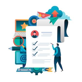 Compilare un documento. applicazione in linea.