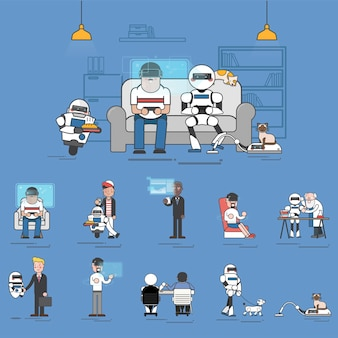 Compilazione di tecnologia ai avanzata nell'illustrazione della vita quotidiana
