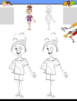 Compito di disegno e colorazione con ragazza
