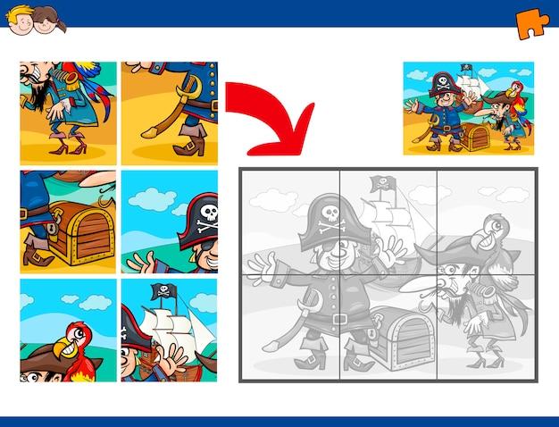 Compito di jigsaw puzzle con i pirati