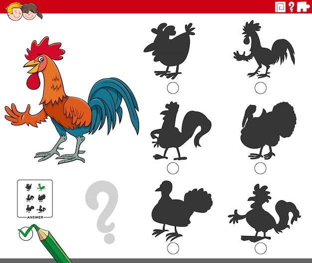 Compito di ombre con personaggio animale gallo dei cartoni animati
