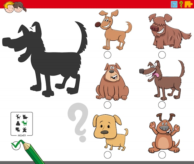 Compito di ombre con simpatici personaggi di cani