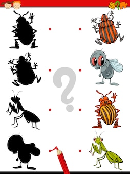 Compito di ombre educative dei cartoni animati