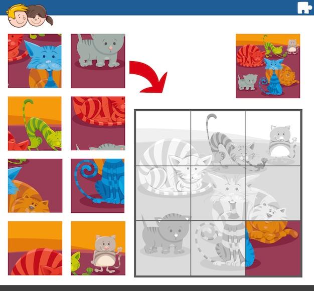 Compito di puzzle con personaggi animali di gatti