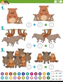 Compito educativo di aggiunta matematica con animali selvatici