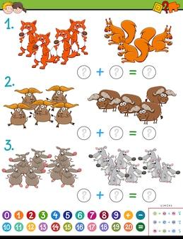 Compito educativo di aggiunta matematica con animali