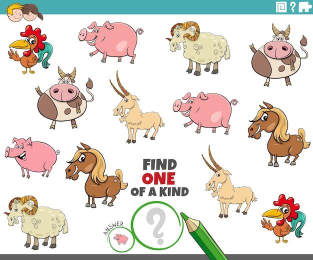 Compito unico per bambini con animali da fattoria