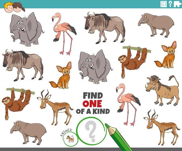 Compito unico per i bambini con animali selvatici