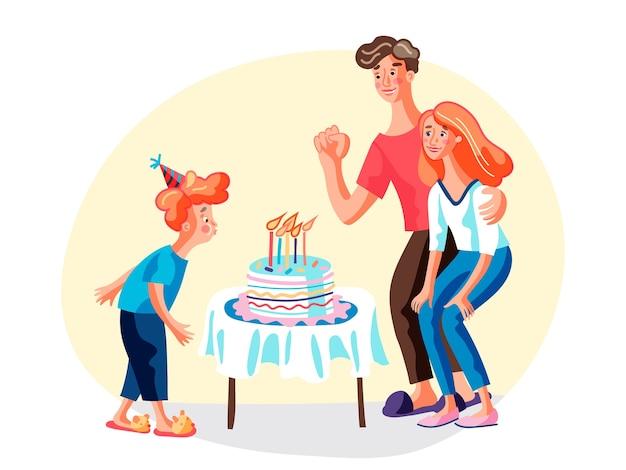 Compleanno con l'illustrazione dei genitori, madre sorridente, padre e figlioletto personaggi dei cartoni animati, bambino con cappello festivo che soffia candele sulla torta, bambino che esprime desiderio, famiglia che celebra il b-day