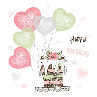 Compleanno con una grande torta e palloncini a forma di cuore.