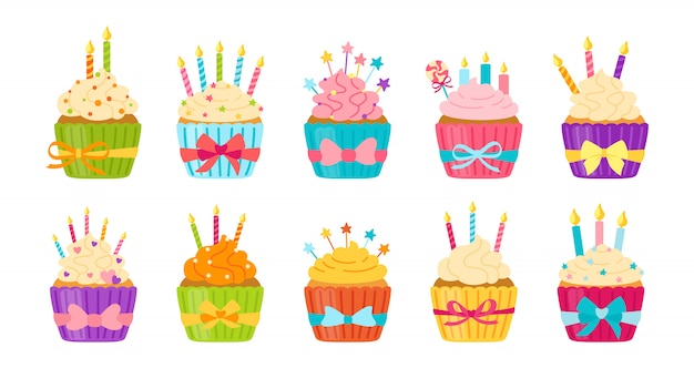 Compleanno cupcake flat set cartoon muffin