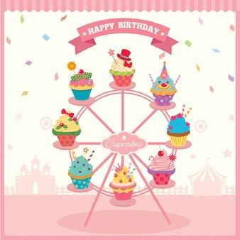 Compleanno della ruota panoramica del cupcake