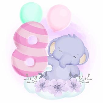 Compleanno di elefante ottavo simpatico animaletto per bambini