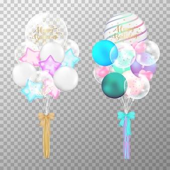 Compleanno di palloncini colorati su sfondo trasparente.