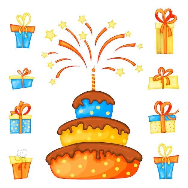Compleanno impostato per biglietto di auguri o volantino con torta e scatole regalo che giocano dolcetto o scherzetto a halloween