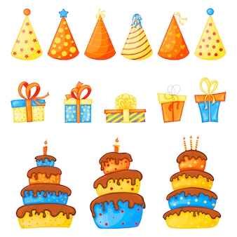 Compleanno impostato per biglietto di auguri o volantino con torte, tappi e scatole regalo che giocano a scherzetto o dolcetto a halloween