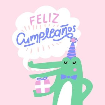 Compleanno lettering illustrazione coccodrillo