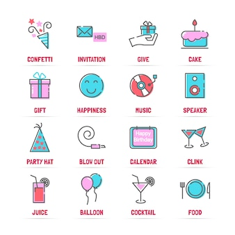 Compleanno linea icone vettoriali con colori piatti