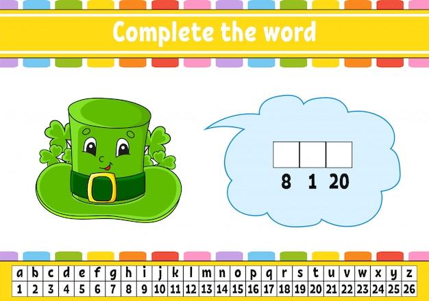 Completa le parole. codice cifrato. cappello leprechaun. imparare vocabolario e numeri.