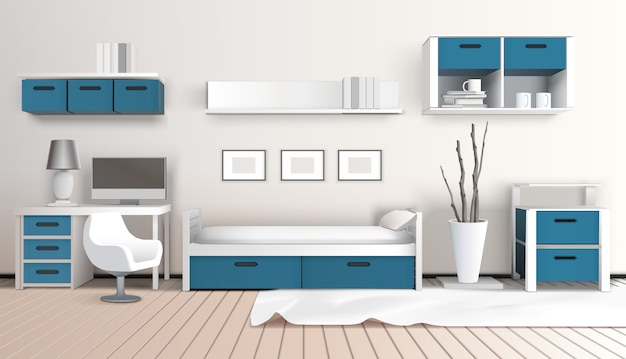 Composizione 3d interni moderni
