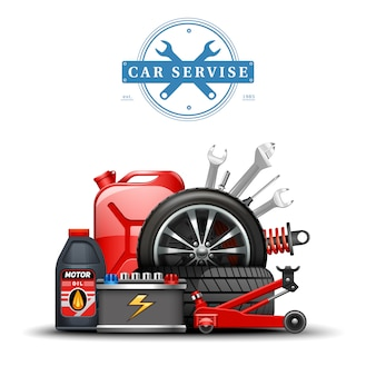 Composizione accessori centro assistenza auto
