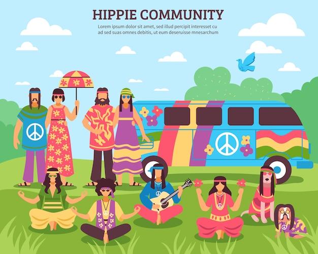 Composizione all'aperto della comunità di hippie