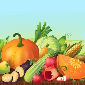 Composizione all'aperto in simboli di verdure freschi e organici maturi del fumetto con il cielo di sera e la tavola di legno