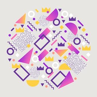 Composizione arrotondata elementi geometrici astratti