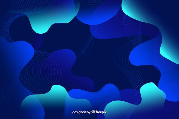 Composizione astratta di liquido blu sfumato forme sfondo