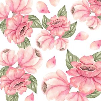 Composizione botanica con fiori di pesco e foglie di acquerello