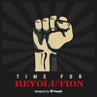 Composizione classica di rivoluzione con pugno alzato