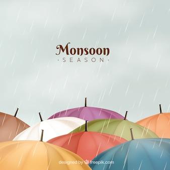 Composizione classica stagione dei monsoni con un design realistico
