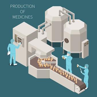 Composizione colorata isometrica in produzione farmaceutica con produzione delle descrizioni delle medicine e processo di lavorazione nell'illustrazione del laboratorio