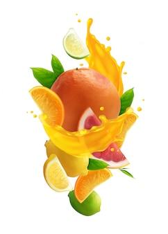 Composizione colorata nel succo di agrumi con frutta fresca realistica e spruzzata di succo su fondo bianco