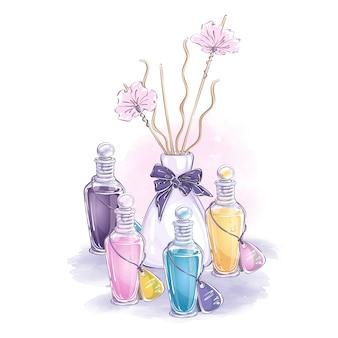 Composizione con accessori per procedure cosmetiche e aromaterapia. bottiglie con olii essenziali