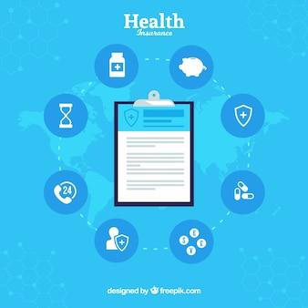 Composizione con appunti e icone di assicurazione sanitaria