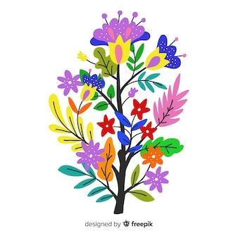 Composizione con fiori in fiore e rami su colori caldi