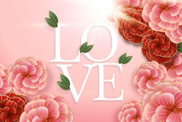 Composizione con scritta love ed elementi floreali astratti.
