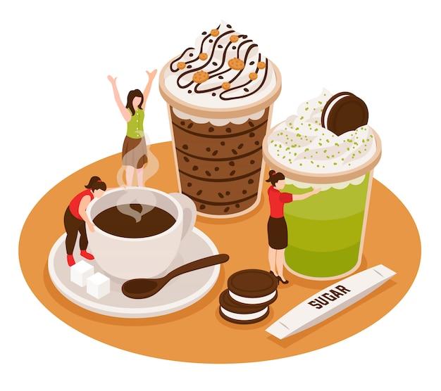 Composizione concettuale di barista isometrico barista con tazze di caffè e dessert con caratteri di piccole persone